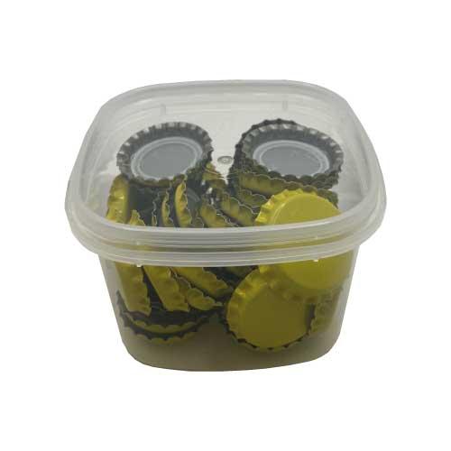 Capsules jaunes diamètre 26mm Kit de 50 capsules couronne diametre 26mm couleur jaune